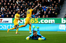 Jordan Hugill of Preston North End celebrates scoring a goal to make it 1-1 - Mandatory by-line: Robbie Stephenson/JMP - 24/04/2017 - FOOTBALL - St James Park - Newcastle upon Tyne, England - Newcastle United v Preston North End - Sky Bet Championship