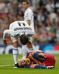 27-04-2011 VOETBAL: SEMI FINAL CL REAL MADRID - FC BARCELONA: MADRID<br /> Sergio Ramos and Sergio Busquets <br /> *** NETHERLANDS ONLY***<br /> ©2011-FH.nl-EXPA/ Alterphotos/ ALFAQUI / Alex Cid-Fuentes