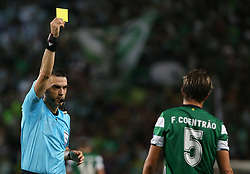September 27, 2017 - Lisbon, Lisbon, Portugal - Sportings defender Fabio Coentrao from Portugal seeing yellow card during the match between Sporting CP v FC Barcelona UEFA Champions League playoff match at Estadio Jose Alvalade on September 27, 2017 in Lisbon, Portugal. (Credit Image: © Dpi/NurPhoto via ZUMA Press)