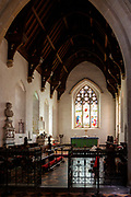 Altar, chancel and sanctuary of Great Bedwyn church, Wiltshire, England, UK