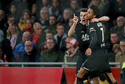 Oussama Idrissi #11 of AZ Alkmaar scores and celebrate with Calvin Stengs #7 of AZ Alkmaar during the Dutch Eredivisie match round 25 between Ajax Amsterdam and AZ Alkmaar at the Johan Cruijff Arena on March 01, 2020 in Amsterdam, Netherlands