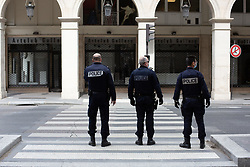 Police forces on Rivoli Street in Paris on May 4, 2020, on the forty-ninth day of a strict lockdown in France, in place to attempt to stop the spread of the new coronavirus (COVID-19). Photo by Raphael Lafargue/ABACAPRESS.COM