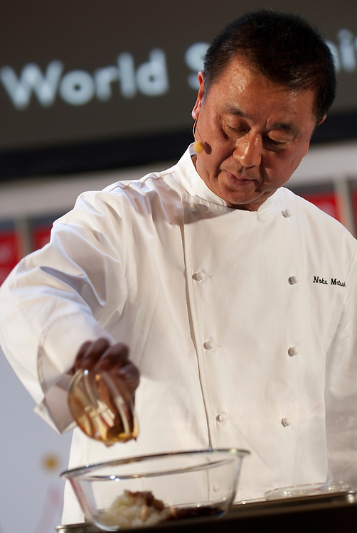 Chef Nobuyuki Matsuhisa gives a speech and demonstration at Tokyo Taste, The World Summit of Gastronomy 2009, 9 February 2009,Tokyo, Japan.Many of the world's top chefs are assembled for the sold-out 3 day event in the center of Tokyo.