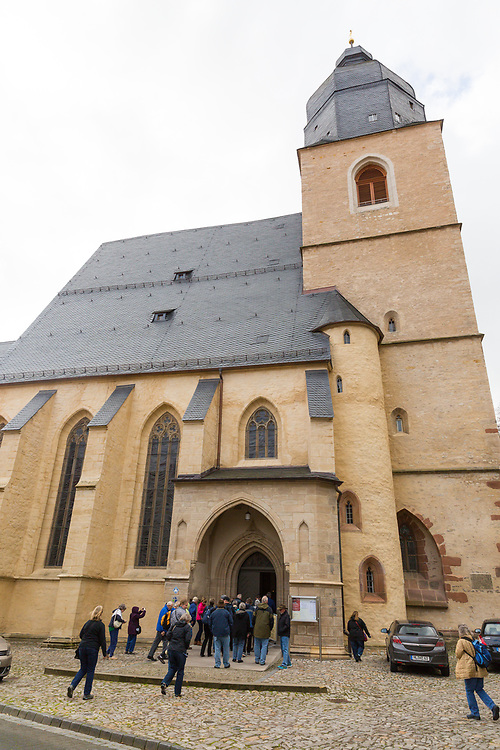 Members of the Valparaiso University Reformation tour visit the Church of St. Peter and St. Paul in Eisleben, Germany Friday, October 27th. The church is the location where Martin Luther was baptized.