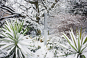 Peace Garden marker post in quiet corner of Dulwich Park, Southwark, south London during mid-winter snow.