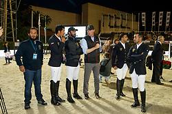 Team UAE, Al Marri ABdullah Mohd, Al Muhairi Abdullah Humaid, Al Hajri Mohammed Ghahem, Al Qassimi Shk. Majid, UAE, Karl Schneider, GER<br /> CSIO Barcelona 2017<br /> © Hippo Foto - Dirk Caremans<br /> 29/09/2017