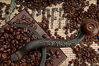 Detail of Old Coffee Grinder and beans with Burlap.