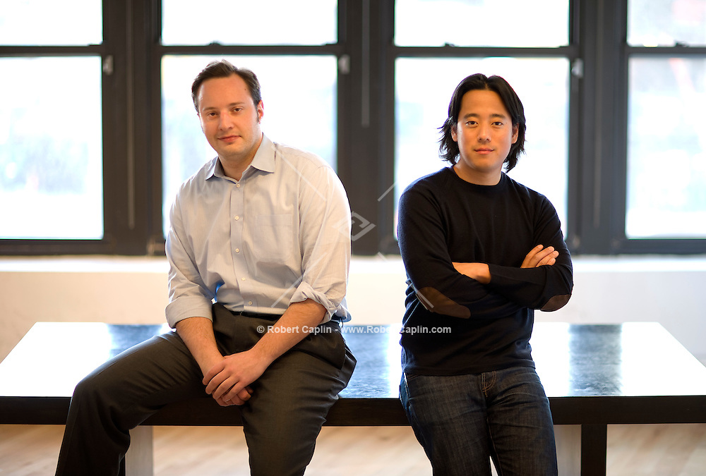 Brett Icahn, left, and Kenneth Woo, co-founders of Massify, a new dotcom offering a radically new approach to film development and production, pose for a portrait in their downtown New York office.