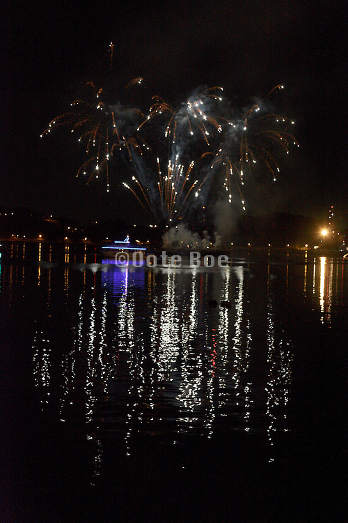 fireworks display over water