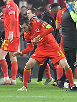 Football - 2019 / 2020 UEFA European Championships Qualifier - Group E: Wales vs. Hungary<br /> <br /> Gareth Bale  of Wales celebrates after Wales win 2-0 to qualify for Euros 2020, at Cardiff City Stadium.<br /> <br /> COLORSPORT/WINSTON BYNORTH