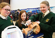 27/11/2016 REPRO FREE:   Aisling Conneely (11), Lisa Cronin (12) and Ciara Gill (12) from St Vincent's N.S., Cool Arneenjoythe Medtronic exhibitioninNUI Galway as part of the Galway Science & Technology Festival.Photo:Andrew Downes