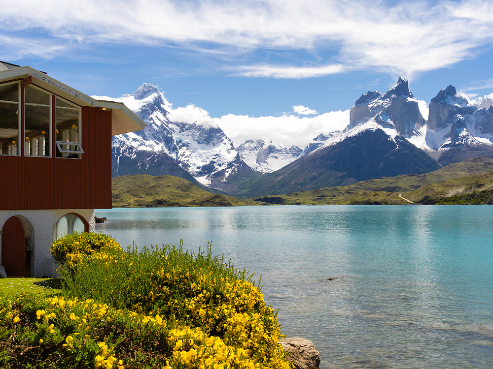View of majestic Cuerno Principal and Torres del Paine National Park, Chile, from the Hosteria Pehoe.