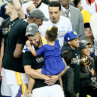 12 June 2017: Golden State Warriors guard Stephen Curry (30) is seen with his daughter during the Golden State Warriors 129-120 victory over the Cleveland Cavaliers, in game 5 of the 2017 NBA Finals, at the Oracle Arena, Oakland, California, USA.