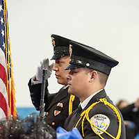Gallup Police Color Guard officers Luke Martin, left, and Daniel Brown render salutes as the colors are posted. The Police Memorial Ceremony was held at the Larry Brian Mitchell Recreation Center in Gallup on Wednesday.
