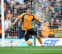 Molineux Wolverhampton v Coventry (2-1)  Championship 18/10/2008<br /> Michael Kightly (Wolves) with his back to goal has to turn round to score equaliser<br /> Photo Roger Parker Fotosports International