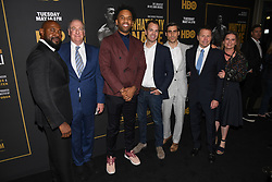 May 8, 2019 - Los Angeles, California, USA - 08, May 2019 - Pasadena, California.  (L-R) Director and Executive Producer Antoine Fuqua, executive producer Paul Watcher, executive producer Maverick Carter, president/HBO programming Casey Bloys, executive vp, HBO sports Peter Nelson, executive producer Bill Gerber and producer Kat Samick attends 'What's My Name | Muhammad Ali' HBO Documentary Premiere at Regal Cinemas LA LIVE 14 in Los Angeles, California. (Credit Image: © Billy Bennight/ZUMA Wire)