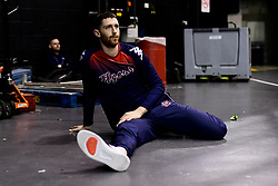 Josh Rogers of Bristol Flyers prepares in the warm up area prior to tip off - Photo mandatory by-line: Ryan Hiscott/JMP - 26/01/2020 - BASKETBALL - Arena Birmingham - Birmingham, England - Bristol Flyers v Worcester Wolves - British Basketball League Cup Final