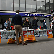 A stall outside Farringdon station attend the May Day 2019 on 1st May 2019, London, UK.