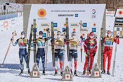 28.02.2021, Oberstdorf, GER, FIS Weltmeisterschaften Ski Nordisch, Oberstdorf 2021, Herren, Langlauf, Teamsprint, Freestyle, Siegerpräsentation, im Bild v.l.: Silbermedaillengewinner Ristomatti Hakola (FIN), Joni Maki (FIN), Weltmeisterin und Goldmedaillengewinner Weltmeisterin und Goldmedaillengewinner Erik Valnes (NOR), Johannes Hoesflot Klaebo (NOR), Bronzemedaillengewinner Alexander Bolshunov (RSF), Gleb Retivykh (RSF) // f.l.: Silver medalist Ristomatti Hakola of Finland Joni Maki of Finland World champion and gold medalist Erik Valnes of Norway Johannes Hoesflot Klaebo of Norway Bronze medalist Alexander Bolshunov of RSF Gleb Retivykh of RSF during the teampresentation for the men Cross Country team sprint freestyle competition of the FIS Nordic Ski World Championships 2021 in Oberstdorf, Germany on 2021/02/28. EXPA Pictures © 2021, PhotoCredit: EXPA/ Dominik Angerer