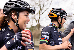 Lucy Garner catches her breathe and enjoys the team win - Grand Prix de Dottignies 2016. A 117km road race starting and finishing in Dottignies, Belgium on April 4th 2016.