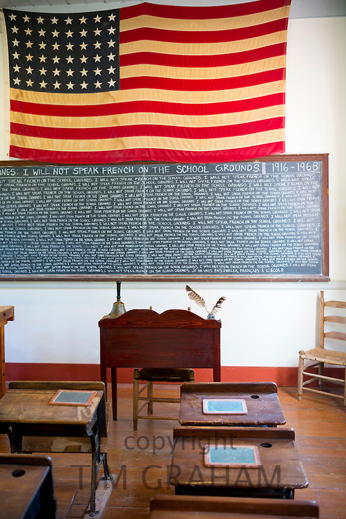 Old schoolroom at Vermilionville history museum of Acadian (Cajun), Creole, Native American cultures, Lafayette, Louisiana USA