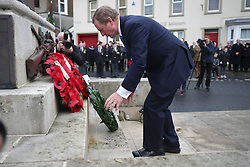 Taoiseach Enda Kenny lays a wreath at a Remembrance Sunday service at the Cenotaph in Enniskillen, held in tribute for members of the armed forces who have died in major conflicts.