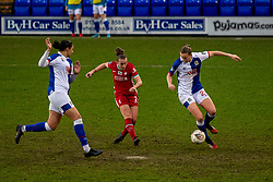 BIRKENHEAD, ENGLAND - Sunday, March 28, 2021: Liverpool's Becky Jane shoots during the FA Women's Championship game between Liverpool FC Women and Blackburn Rovers Ladies FC at Prenton Park. The game ended in a 1-1 draw. (Pic by David Rawcliffe/Propaganda)