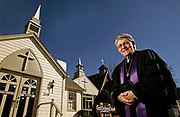 Reverend Ed Taylor stands outside the chapel where he performed his first ceremony 30 years ago in Gatlinburg, Tenn. in this photo taken Saturday, Jan. 31, 2009. (AP Photo/Wade Payne)