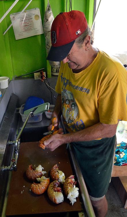 Prepping lobster at The Tourist Trap, St. John, U.S. Virgin Islands.