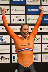 March 2, 2018 - Apeldoorn, Netherlands - Netherland's Kirsten Wild celebrates on the podium after her victory in Women's omnium point race during the UCI Track Cycling World Championships in Apeldoorn on March 2, 2018. (Credit Image: © Foto Olimpik/NurPhoto via ZUMA Press)