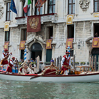 VENICE, ITALY - SEPTEMBER 05:  A couple wearing costumes of the Venetian Doge and Dogaressa in a gondola take part in the Historic Regata September 5, 2010 in Venice, Italy. The Historic Regata is the most exciting rowing race on the Gran Canal for the locals and one of the most spectacular ***Agreed Fee's Apply To All Image Use***.Marco Secchi /Xianpix. tel +44 (0) 207 1939846. e-mail ms@msecchi.com .www.marcosecchi.com