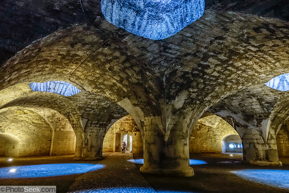In Munot Castle's lower chamber, explore a spectacular, cool vaulted casemate built in the Renaissance, in Schaffhausen, Switzerland, Europe. The Munot, Schaffhausen's iconic circular fortress, was built by forced labor in 1564-1589 after the religious wars of the Reformation.