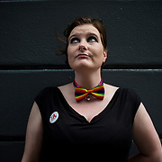 A pro-marriage equality campaigner outside a bar in central Dublin, Ireland.
