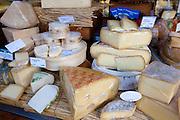 German artisan cheeses on sale at Viktualienmarkt food market in Munich, Bavaria, Germany