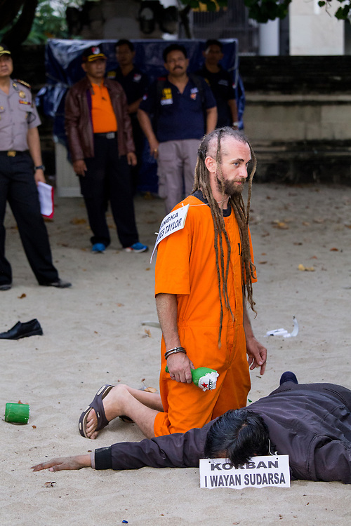 on August 31, 2016, in Kuta.  Bali, Indonesia<br /> <br /> Australian Sara Connor and British David Taylor are accused of murdering a Bali police officer, Wayan Sudarsa, after his body was found with 42 wounds, including to his head and neck, at Kuta beach on 17 August. According to reports, investigators said six new witnesses came forward in the case against Connor and her boyfriend Taylor, as both suspects returned to the scene of the crime on Wednesday for a full reconstruction of the officer's death.