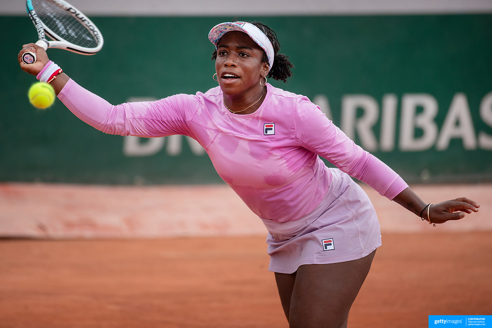 PARIS, FRANCE May 24.  Sachia Vickery of the United States in action against Sara Errani of Italy on the first day of the qualifying tournament at the 2021 French Open Tennis Tournament at Roland Garros on May 24th 2021 in Paris, France. (Photo by Tim Clayton/Corbis via Getty Images)
