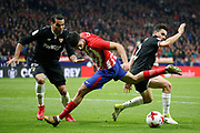 Atletico Madrid's Spanish forward Diego Costa is tackled during the Spanish Cup, Copa del Rey quarter final, 1st leg football match between Atletico Madrid and Sevilla FC on January 17, 2018 at Wanda Metropolitano stadium in Madrid, Spain - Photo Benjamin Cremel / ProSportsImages / DPPI