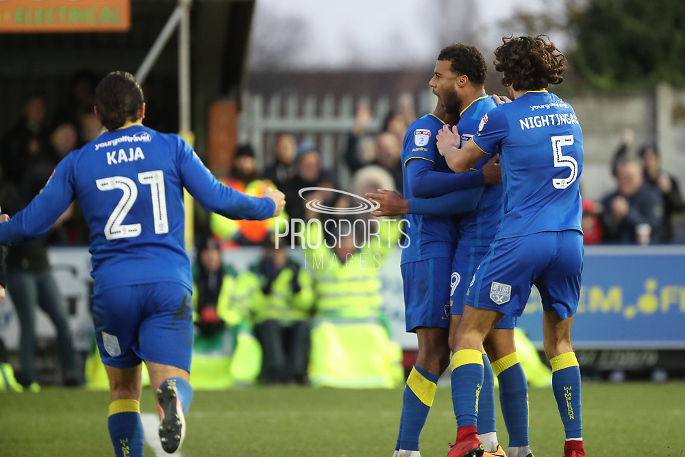 AFC Wimbledon midfielder Tom Soares (19) celebration, celebrating, celebrate, score, goal, scoring, happy, emotion, 2-0 during the EFL Sky Bet League 1 match between AFC Wimbledon and Southend United at the Cherry Red Records Stadium, Kingston, England on 1 January 2018. Photo by Matthew Redman.
