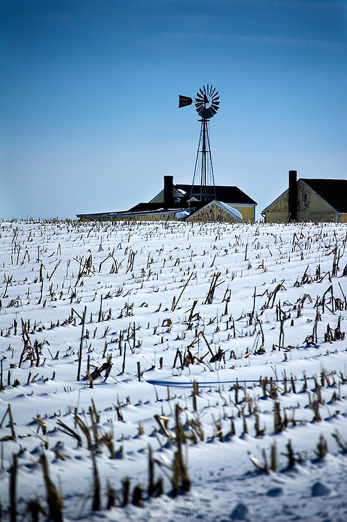 Snow covers the corn fields on a farm in rural Salem County, NJ after a February snow.