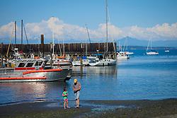 North America, United States, Washington, Whidbey Island, Langley, people on beach near marina