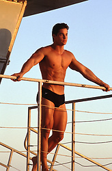 hot muscular man in a speedo on a lifeguard stand at sunset