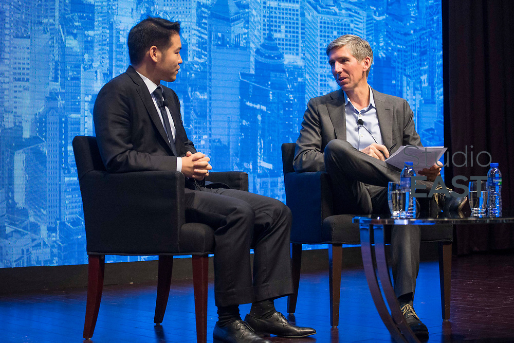 Q&A session with Matt Hougan, Curtis Tai - Inside ETF's Hot Seat - 10 Questions in 20 Minutes – How to Get the Most Out of Your Market Maker during the Inside ETFs Asia conference in the Grand Hyatt hotel, Hong Kong, China, on 09 November 2017. Photo by Vivek Prakash
