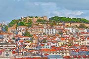 Digitally enhanced image of a the view from the Miradouro de Sao Pedro de Alcantara in the Bairro Alto, Lisbon, Portugal