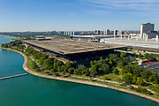 Aerial drone image of McCormick Place adjacent to Burnham Harbor in Chicago. Photo by Mark Black