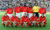 The England team, Back row (L>R) Dennis Wise, Martin Keown, Sol Campbell, Paul Ince, David Seaman and Alan Shearer. Front Row (L>R) Paul Scholes, Michael Owen, David Beckham, Gary Neville and Phillip Neville. England v Germany. Euro 2000. Chaleroi, Belgium 17/6/00. Credit: Colorsport.