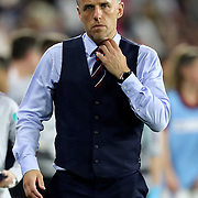 England head coach Phil Neville is seen during the first match of the 2020 She Believes Cup soccer tournament at Exploria Stadium on 5 March 2020 in Orlando, Florida USA.