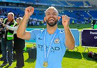 BRIGHTON, ENGLAND - MAY 12:   Sergio Aguero (10) of Manchester City celebrates winning the Premier League during the Premier League match between Brighton & Hove Albion and Manchester City at American Express Community Stadium on May 12, 2019 in Brighton, United Kingdom. (MB Media)