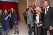 CINDY BLACK;, SOPHIE WINKLEMAN; JUDY FINNIGAN; RICHARD MADDELEY, Pre -drinks at the St. Martin's Lane Hotel before a performance of the English National Ballet's Nutcracker: London Coliseum.12 December 2013