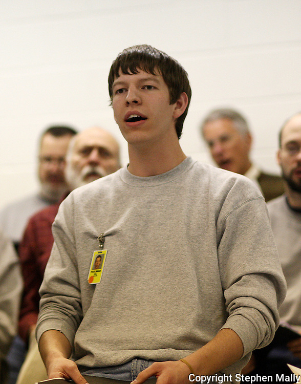 Inmate Josiah Paulsrud of Ida Grove sings during a practice for the Oakdale Prison Community Choir at the Iowa Medical and Classification Center in Coralville on Tuesday March 3, 2009.