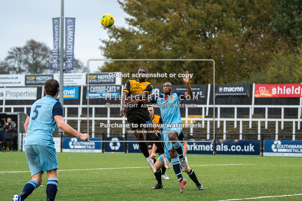BROMLEY, UK - NOVEMBER 09: Ben Mundelle, of Cray Wanderers FC, rises highest for a header during the BetVictor Isthmian Premier League match between Cray Wanderers and Cheshunt at Hayes Lane on November 9, 2019 in Bromley, UK. <br /> (Photo: Jon Hilliger)